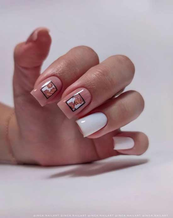 White-beige potal manicure
