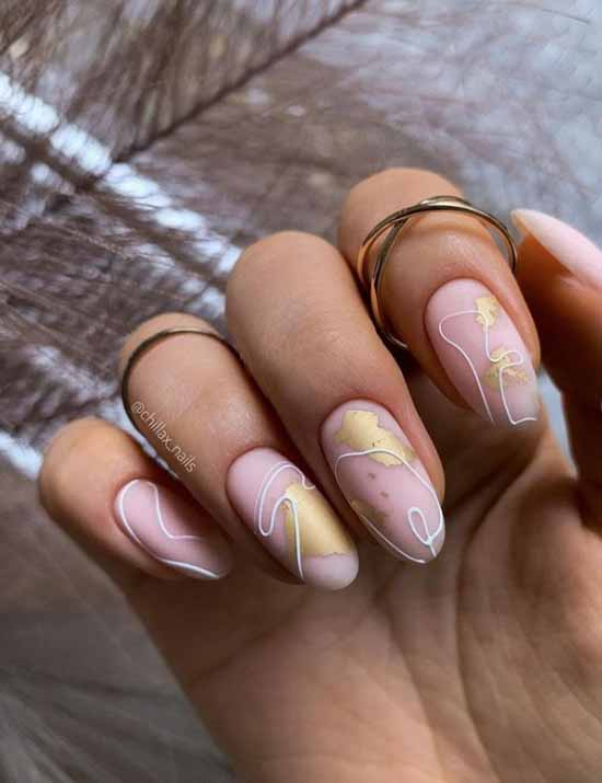 Nude nails with gold leaf
