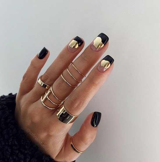 Black gold leaf and transparent nails