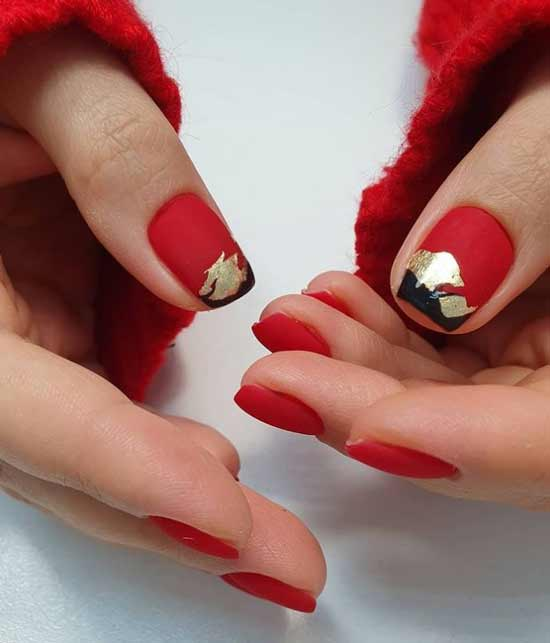 Red matte manicure with gold leaf