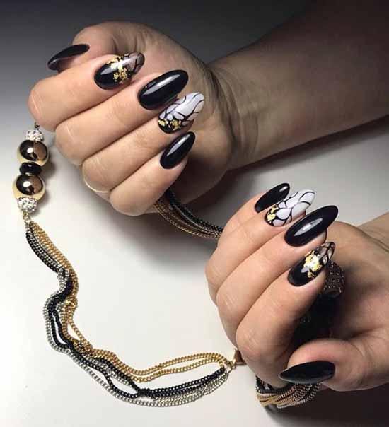 Black nails with gold leaf