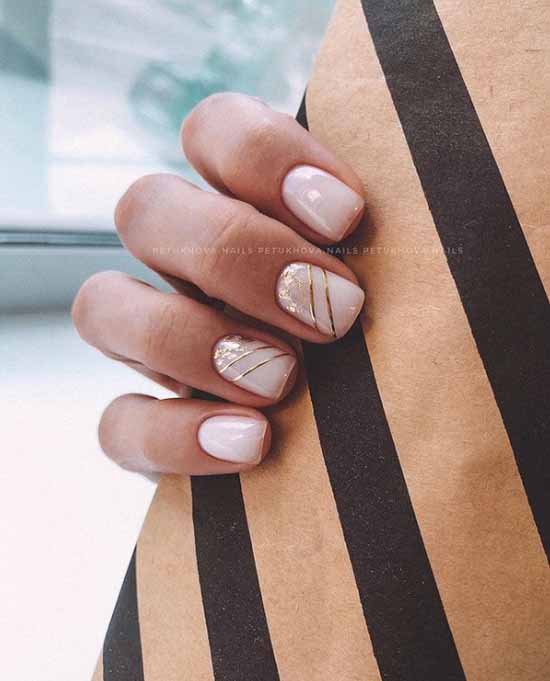 Beige nails with leaf