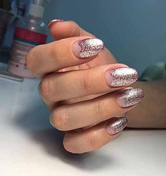 Lunar manicure with pink sequins