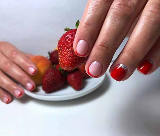 Red manicure for short nails
