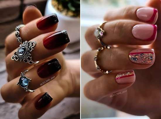Red glitter manicure design