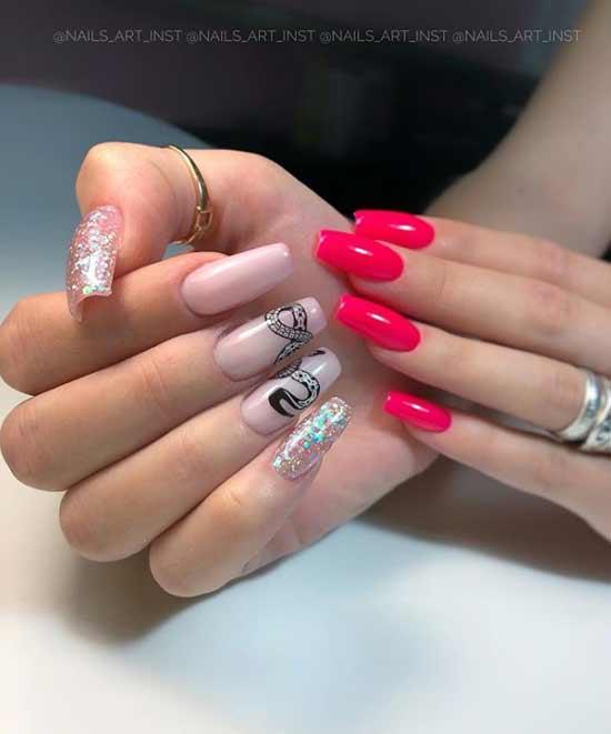 Neon red glitter manicure