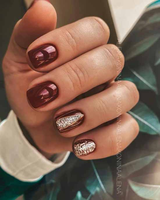 Burgundy manicure with sparkles silver