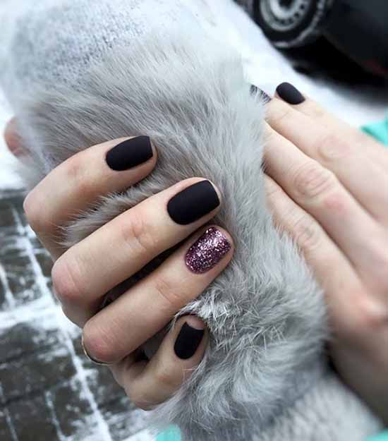 Black manicure with pink sequins