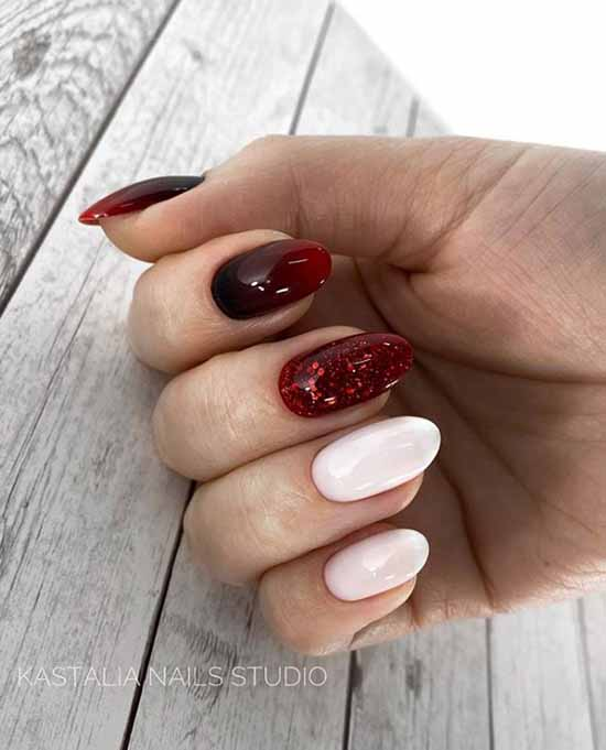 Ombre manicure with red sparkles