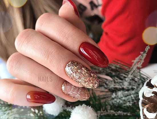 Red manicure with gold sequins