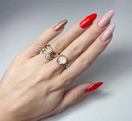 Long sharp nails with red and gold