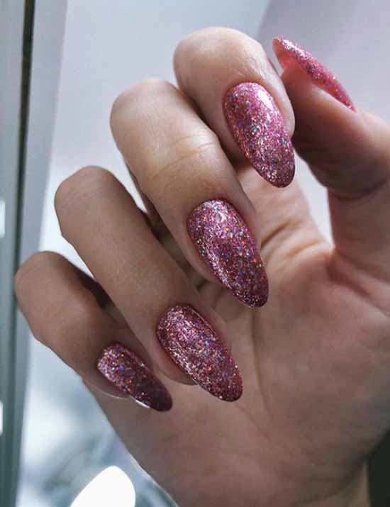 Pink sequins in manicure