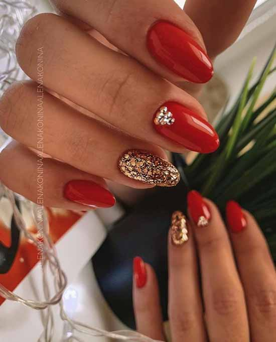 Red with gold manicure