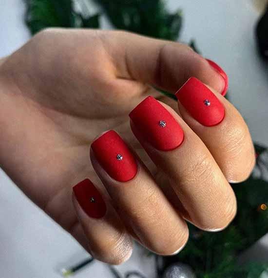 Matte red with liquid rhinestones