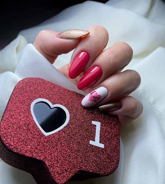 Red and white glitter manicure