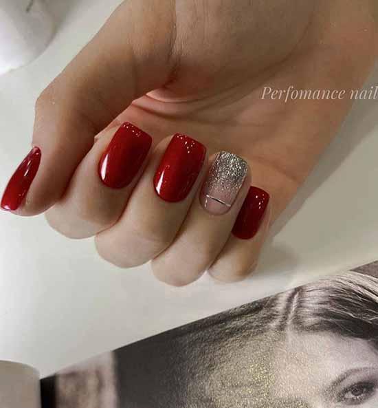 Red short glitter nails