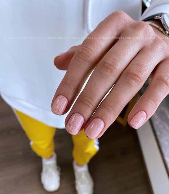 Pink glitter manicure