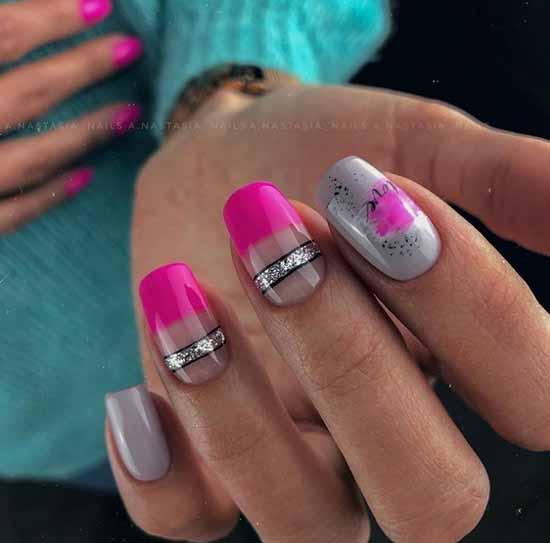 Fuchsia with silver manicure