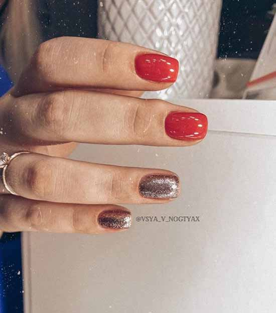 Red and two glitter nails
