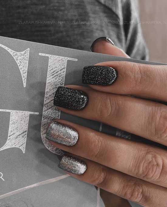 Black manicure with silver glitter