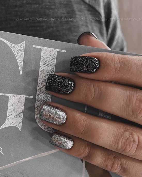 Black manicure with silver glitter