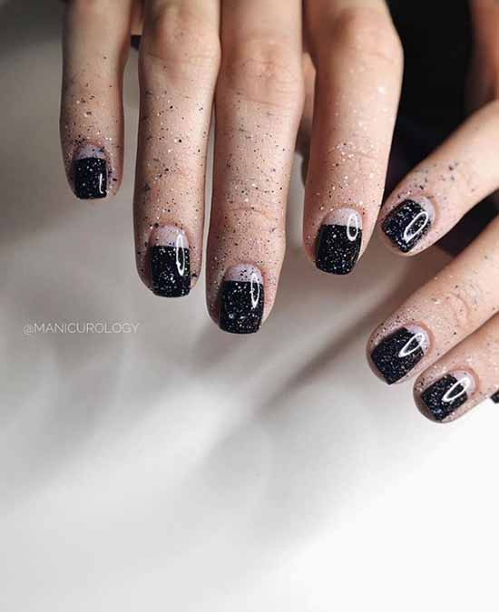French half nail with glitter