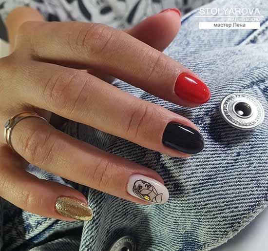 Black and red glitter manicure