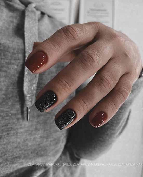 Black and burgundy glitter manicure