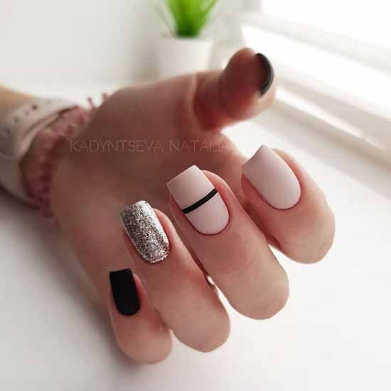 Black matte glitter manicure