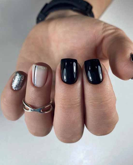 Square shape nails black glitter manicure