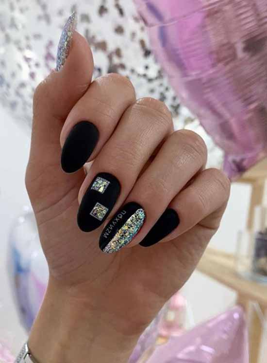 Colored sequins in black manicure