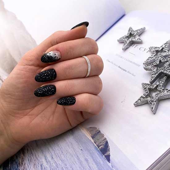 Black with sequins on all nails
