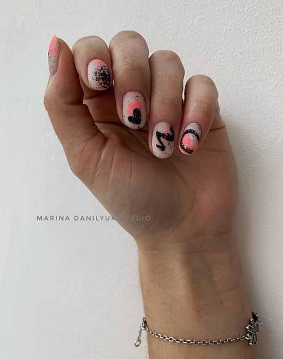 Festive black glitter manicure