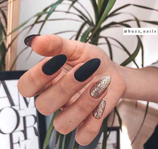 Black jacket and sequins on one nail