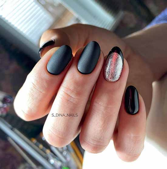Beautiful black manicure and sequins