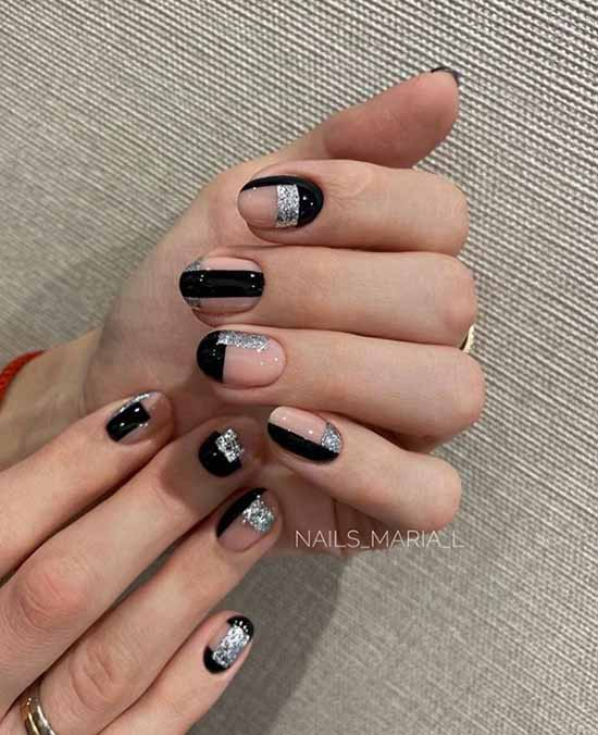 Short nails design with silver