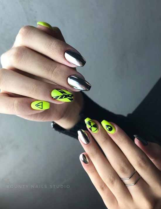 Design of nails with a mirror rub