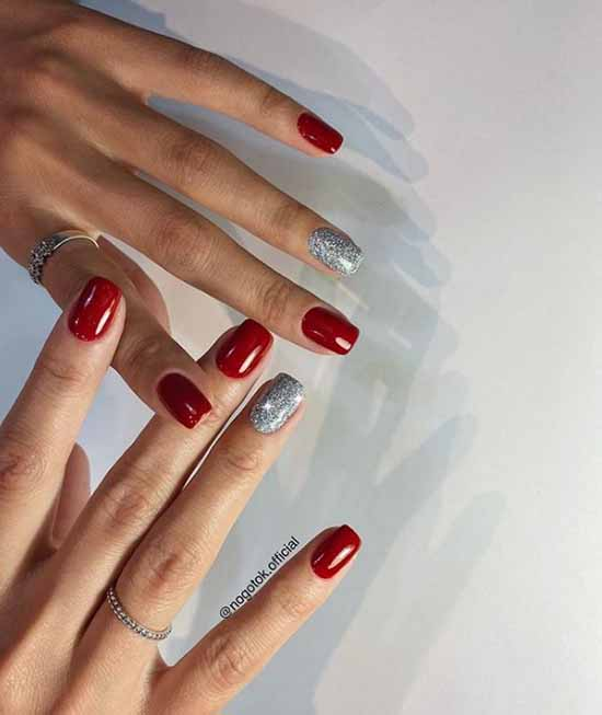 Red nails with silver