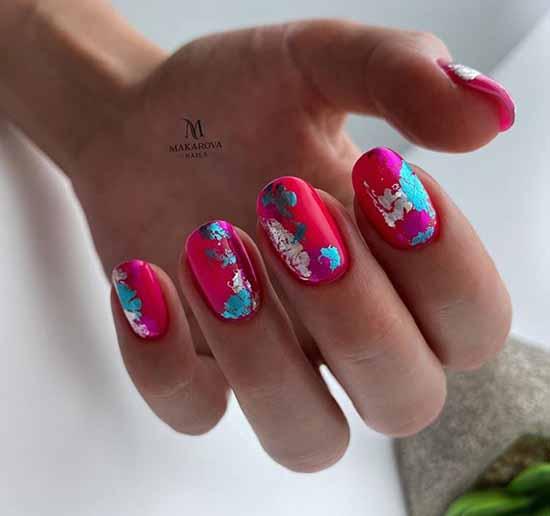 Silver foil design nails