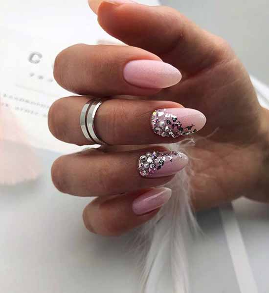 Nail design with silver and rhinestones
