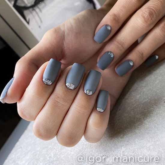 Gray manicure with silver