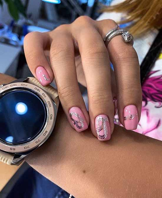 Pink short manicure with silver