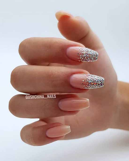 Nude manicure with glitter photo