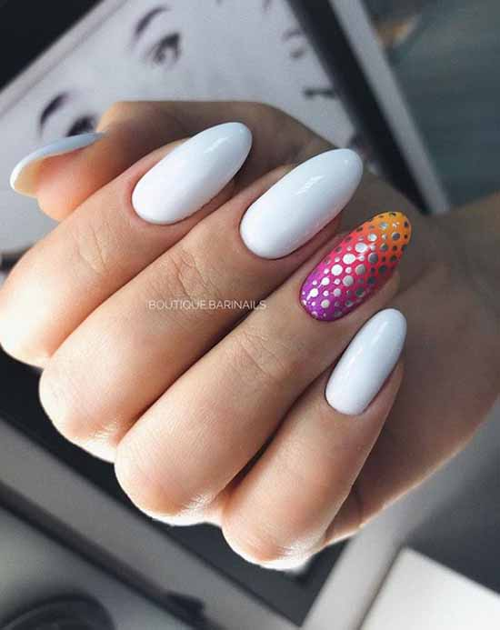 White nails design with silver
