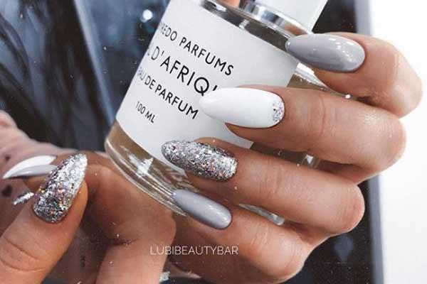 Silver gray nail art