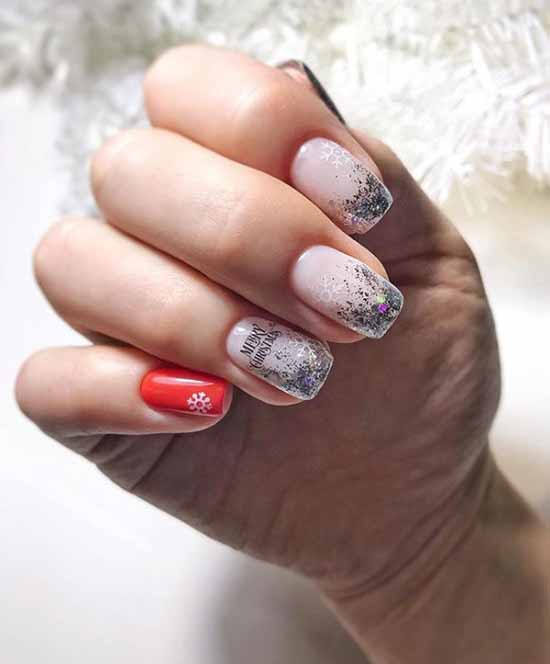 New Year's manicure with silver