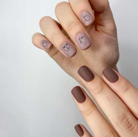 Short nails design on a squawed shape