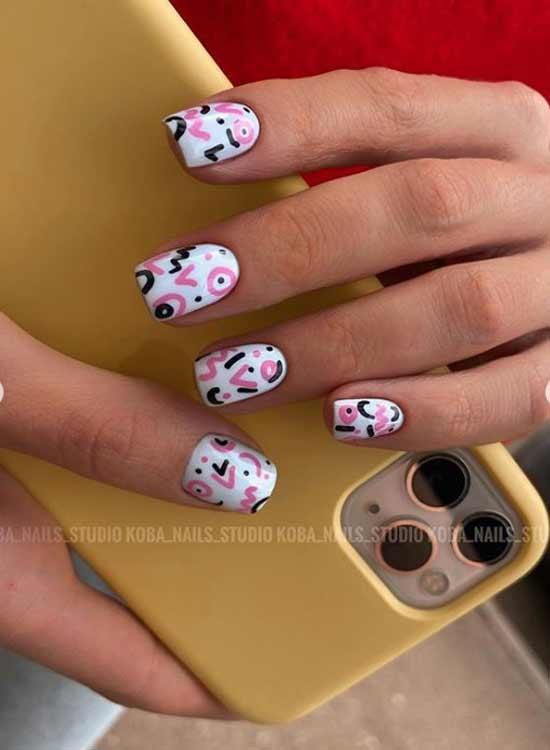 Design short nails square shape