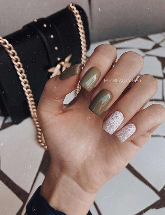 olive white manicure