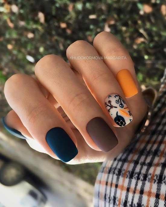 Stylish autumn manicure short nails